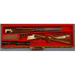 Winchester Double Express, O/U, Boar model, 12 ga./7x57 Mauser, QA mts (very rare), s#AMS-86EX, Leup
