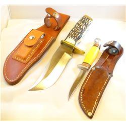 "2 hunting knives, Schrade USA 1710H, 5 1/2"", sheath and wet stone; Western 8522, 3 1/2"", sheath"