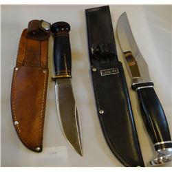 "Marble's hunting knife, 4 1/2"", sheath and Case 223-6 USA, 5 3/4"", sheath"