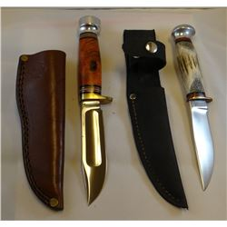 """2 Marble's hunting knives, both 4"""" with sheaths"""