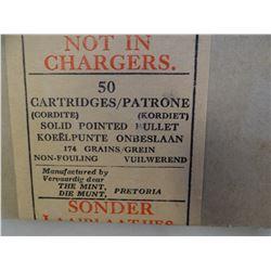 .303 vintage military cartridges, box of 50, original box, Manufactured by Vervaardig deur, The Mint