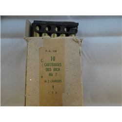 .303 military cartridges, box of 10, original box. Very collectible.
