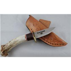 """Fontiane, Warren Bargen, Havre, MT knife, horn & wood handle, 2"""" blade"""