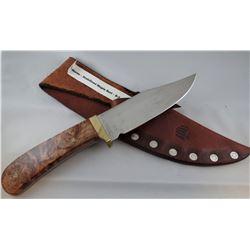 """Bear Paw knife, Havre, MT stabilized maple burl knife, 5 1/4"""" blade"""