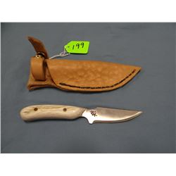 "Running Wolf ""packer"" knife, elk antler handle, 3"" blade"
