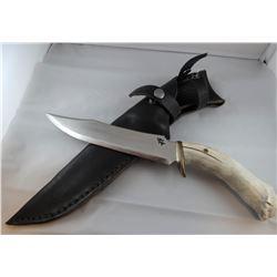"Running Wolf knife, antler handle, 8"" blade with Buffalo Skull"