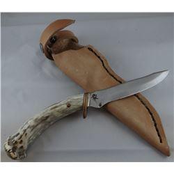 "Running Wolf knife, antler handle, 4 1/2"" blade"