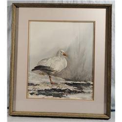 B. Y. Lund, Snow Goose, oil painting, 14w x 17h