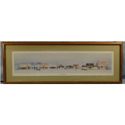 "Michael, Judy, Chester Main Street, original watercolor, 210/250, 36"" w x 9"" h"