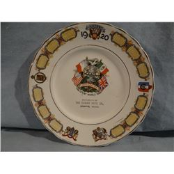 """Coberg, MT WWI The Great World War Commemorative Plate, Victory 1920, 8"""""""