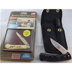 2 pocket knives: Buck DU Unlimited jack knife and penlight; Schrade jack knife w/Federal Duck Stamp,