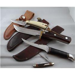 4 knives: 3 Schrade, 1 Old Timer
