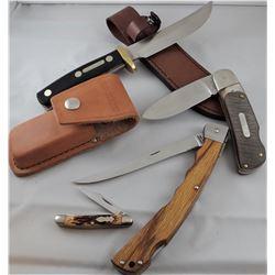 4 knives: 2 Old Timer, 1 Schrade, 1 Uncle Henry