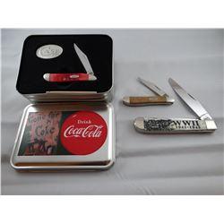 3 pocket knives: Case WWII Commem. and 1 Coke commem.