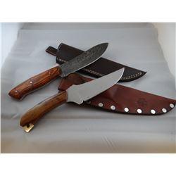 2 knives: Bear Paw, Damascas steel;  Rapid River Knife Works