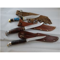 3 knives: DY Navajo w/turquoise; Kbar and Western