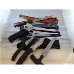 Marvel fillet knife, 4 pcs Frost Cutlery; Flying Falcon set; Rocky Mtn Elk set; Browning set