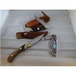 3 knives: Marlin Commemorative; Stature Of Liberty pocket knife; Leupold small hunting knife w/sheat