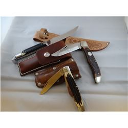 3 knives, Queen steel 2 pocket knives, 1 hunting knife