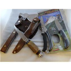 3 pcs: Claw Eventite hatchet, German knife