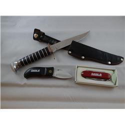 3 knives: 2 Case IH pocket knives, 1 hunting knife