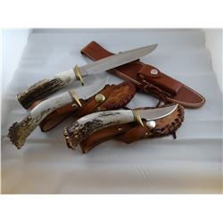 3 knives: Randall, Orlando, Fl., 2 unmarked, all bone handles
