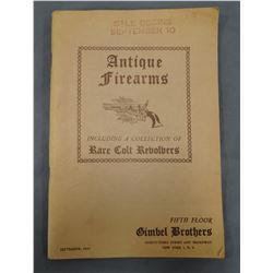 1945 Antique Firearms Catalog, Gimbel Bros, NY., NY, 62 pages, soft cover, original