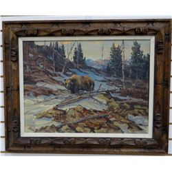 """William Bailey original oil painting, The Grizzly, 18"""" x 24"""", framed"""