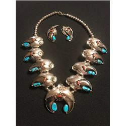 Bear Claw Turquoise & Corral Sterling Silver Squash Blossom Necklace and Matching Ear Rings