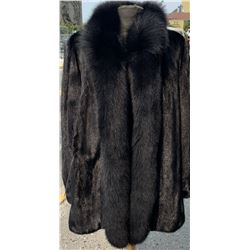 Sheared Mink Coat with Fox Tuxedo Trim