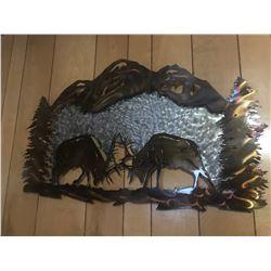 Grinder Metal Art Fighting Bull Elk