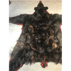 Black Bear Rug with Felt Backing Open Mouth with Full Claws