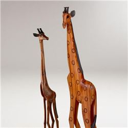 Pair of Hand Carved Wooden Giraffes