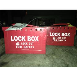 2 RED BRADY JOB SITE LOCK BOXES WITH SINGLE KEYED LOCKS