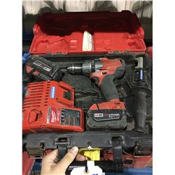 MILWAUKEE M18 CORDLESS DRILL WITH 2 BATTERIES & CHARGER IN CASE