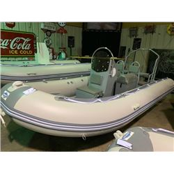 16' BAKERVIEW ALU-500DL 10 PERSON MAX 60HP PVC INFLATABLE ALUMINUM BOTTOM BOAT WITH CENTRE