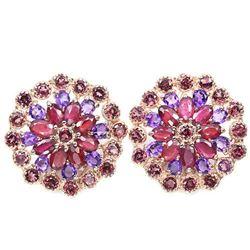 Natural  RUBY AMETHYST & RHODOLITE GARNET Earrings