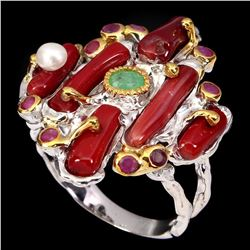 Natural Handmade Red Coral Pearl Emerald Ruby Ring