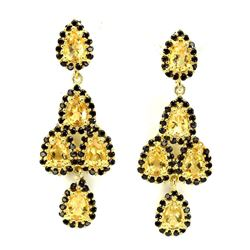 Natural Yellow Citrine Black Spinel Earrings