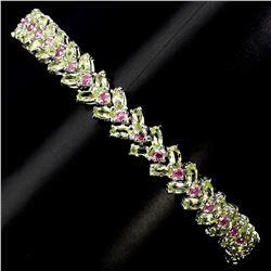 Natural Ruby &  Green Peridot 74.49 Cts Bracelet