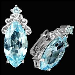 Natural 18X9MM. MARQUSIE AAA SKY BLUE TOPAZ Earring