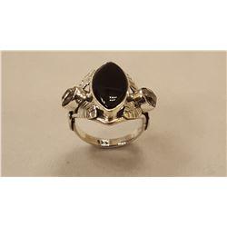 STUNNING BLACK ONYX AND HERKIMER DIAMOND RING
