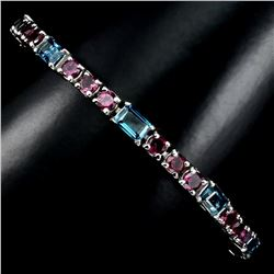 Natural London Blue Topaz & Rhodolite Bracelet