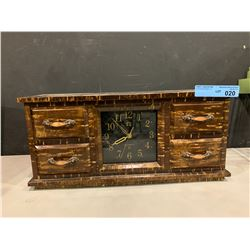 VINTAGE WOODEN CLOCK WITH DRAWERS