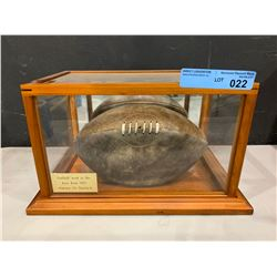 REAL VINTAGE FOOTBALL IN GLASS DISPLAY CASE