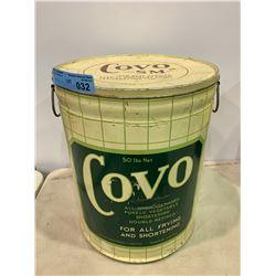 VINTAGE COVO SHORTENING/LARD TIN (50LB CAPACITY)
