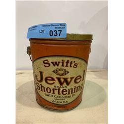 VINTAGE SWITFTS JEWEL SHORTENING TIN