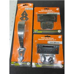 New Gate Handle 11 inch & 2 Hinges 3-1/2 inch / Black