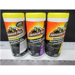 3 New Armor All Protectant Wipes & Cleaning Wipes