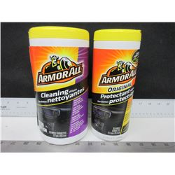 2 New Armor All Wipes / 1 large 50ct Cleaning Wipes & 1 25 Protectant Wipes